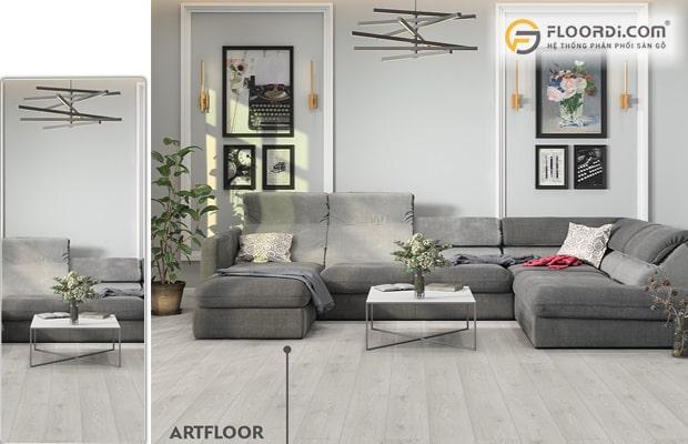Sàn ván gỗ màu xám ghi kết hợp nội thất đen trắng