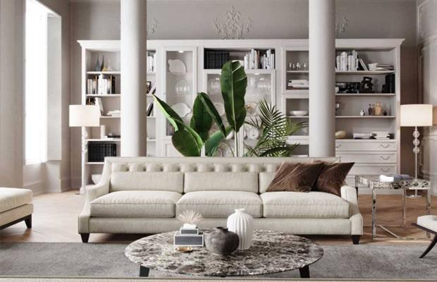 Đây là kiểu phòng khách được ứng dụng nhiều trong các ngôi nhà Việt hiện đại