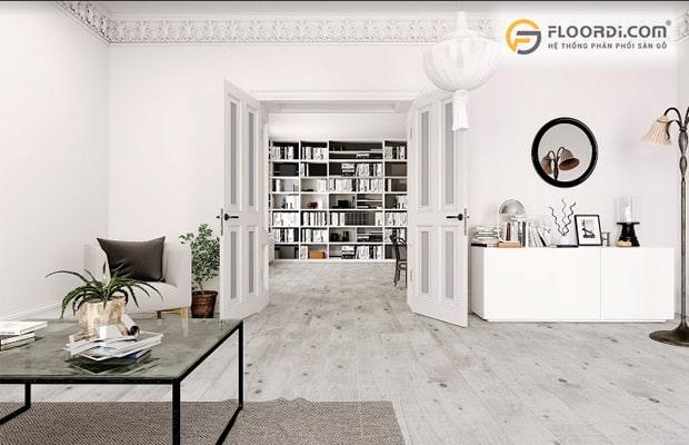Chọn sàn gỗ đẹp cho phòng khách theo kiểu tối giản Minimalism