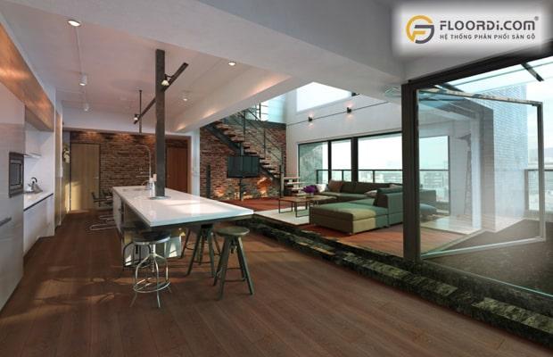 Phòng khách sàn gỗ công nghiệp được đông đảo người dùng ưu tiên lựa chọn