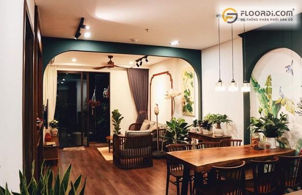 Phối màu sàn gỗ và nội thất theo phong cách thiết kế mang lại vẻ đẹp hài hòa cho tổng thể